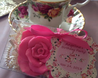 10 ROSE SOAPS (tags and ribbons included) Bridal Shower, Wedding Favor, Mothers day,Shabby chic