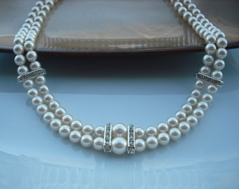 Victoria Collection, Bridal Necklace, Rhinestone and Pearl Necklace, Double Strand Necklace, Vintage Style Bridal Necklace, Wedding Jewelry