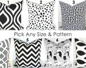 PILLOWS Black Throw Pillows Chevron Ikat Decorative Throw Pillow Covers Gray .ALL SIZES. Lumbar 12x18 16 20 Home and Living Home Decor