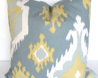 GRAY And Yellow PILLOWS Yellow Decorative Throw Pillow Covers Yellow Pillows Gray Pillow Cover 16 18 20x20 Gold Ikat Grey Pillows .Sale.