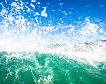 water photography, surf decor, surfer print, blue, green, splash, drops, ocean art, nature art, photography, underwater, costa rica, us
