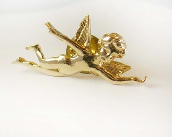 Vintage CHERUB tie tack Lapel Pin Victorian ANGEL Wings Jewelry christian faith jewelry hatpin cravat holder religious catholic