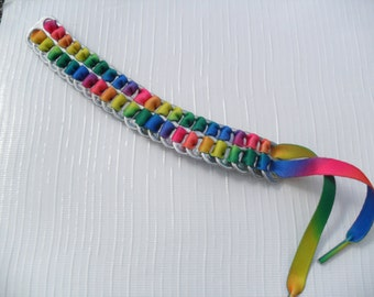 Upcycled Soda Can Tab & Shoelace Bracelet! Tie Dye! Unique and Awesome!!