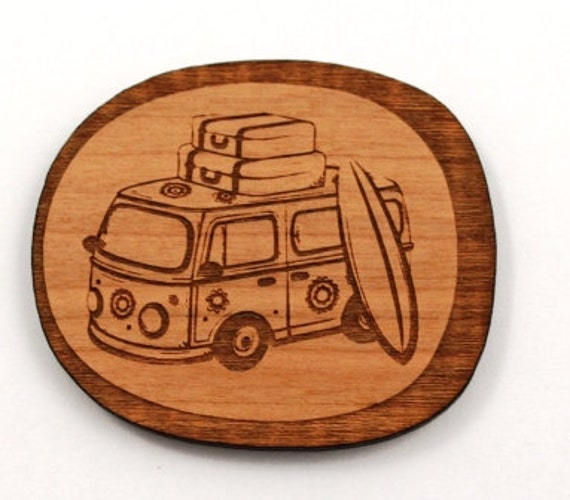 Laser Cut Supplies-1 Piece.Retro Combi Charms -Cherry Wood Laser Cut Retro Combi -Brooch Supplies-Little Laser Lab Sustainable Wood Products