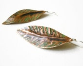 copper silver earrings. forged verdigris leaf. long summer earrings. artisan metalwork