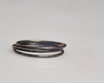 Oxidized sterling silver hammered stacking bands