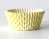 40 Yellow Chevron Cupcake Liners- Wedding, Baby Shower, BIrthday Party Baking Cup