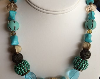 Turquoise and Random Metal Stone Necklace.