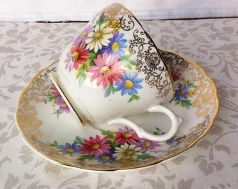 Sale****Beautiful Floral and Gold Tea Duo