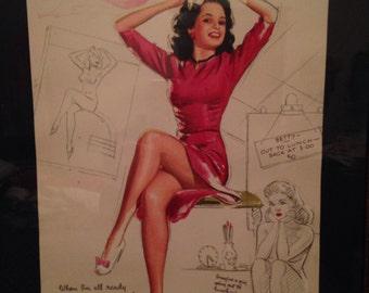 Rare Vintage Pin Up Calendar Girl Miss October by K.O. Munson