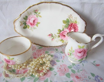 American Beauty Rose  Pattern Cream & Sugar on Plate Set with Plate Royal Albert Bone  China