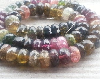 "1 -7"" Strand of LARGE  Beautiful Multi Colored Tourmaline Faceted Rondelles 9mm (35 Beads)"