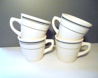 Vintage Restaurant Coffee Mugs Cups Lot of 4 Green And White Pottery Breakfast Cafe Roadside Diner Dishes