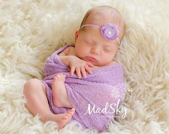 Newborn Photo Prop Set: Orchid Knit Wrap w/Free Headband for Newborn Photo Shoot, Maternity Wrap, Newborn Wrap, Newborn Prop, Infant Photo
