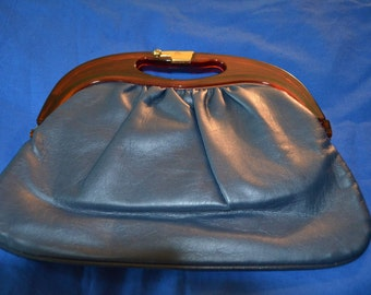 ON SALE  Vintage Navy Blue Purse with Tortoise Colored Handles
