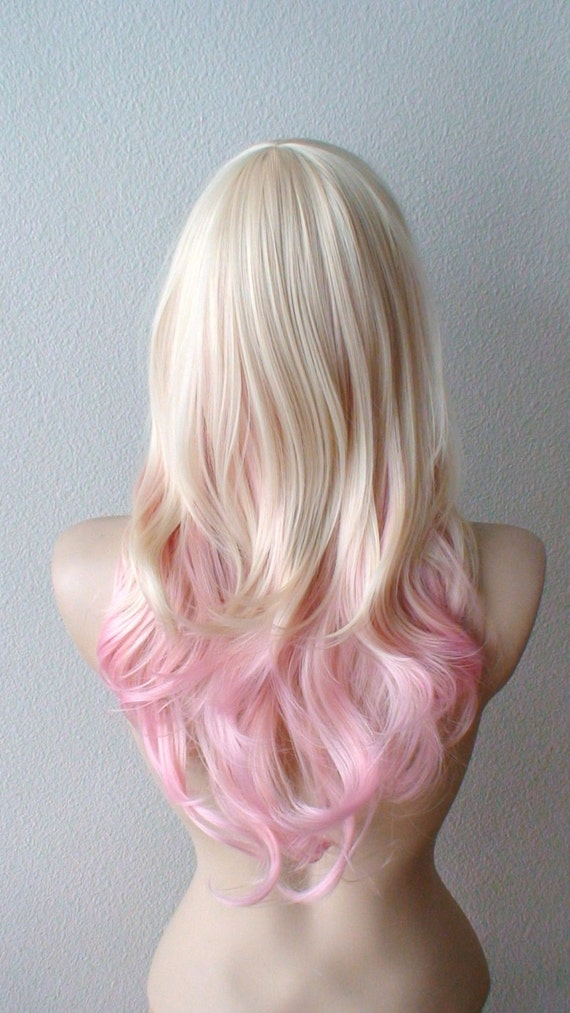 Blonde Pink Ombre Wig Pastel Pink Hair Curly By Kekeshop