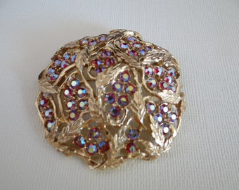 Sarah Coventry Red Aurora Borealis and Gold Tone Leaf Brooch - Gorgeous