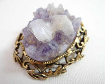 Gorgeous Raw White and Lavender Amethyst Crystal Brooch on an Antiqued Gold Tone Leaf and Swirl Setting