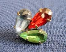 1930s-40s Single Individual Screw On Multi Colored Gem Sterling Silver Tear Drop Earring