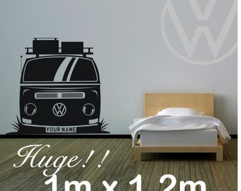 Bay window camper van vinyl wall decal with choice of name on numberplate