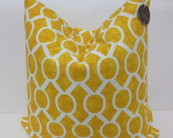 Modern Lattice - Trellis Yellow Pillow Cover 18""