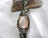 Large Peachy Silver Wire Wrapped Moonstone