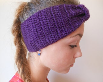 Crochet Headband  Ear Warmer Turban Head Warmer Purple