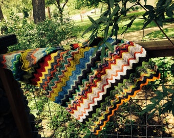 Zigzag Crochet Multi-Color Lap Blanket