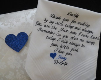 Embroidered Father of the Bride-Hankie-Hanky-Gift For Father from Bride-Wedding Handkerchief-I Will Always Be Your Little Girl ...& Gift Box