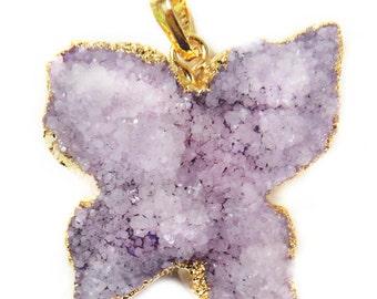 Violet Druzy Butterfly Pendant - Gold