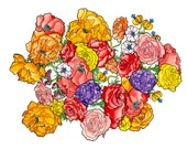 Floral Watercolor Whimsical Painting Art Print