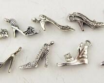 Shoe charm assortment, antique Tibetan silver, lead free, 9 pieces