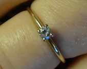 14k Diamond Solitaire Ring Engagement Ring Size 8 Promise Ring Gold Band Wedding Ring Bride Groom