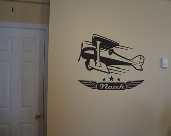 Wall Decal Boys Room Wall Decor Personalized Picture Bi Plane Airplane Pilot Animated Cartoon Childrens Flight Bedroom Playroom Home Decor