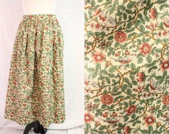 Knee Length 1960s Cotton Bird Flower Print Rose Vines Springtime Skirt Small Medium