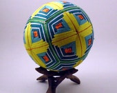 "Japanese Temari Ball - Kasuri Design (Yellow 4 1/2"")"
