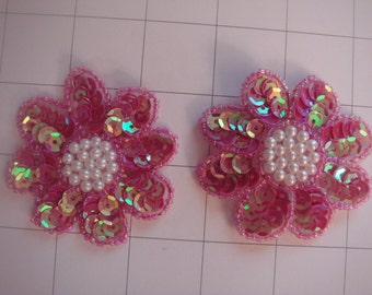 "2.25"" Magenta Pink Flower Applique Set of 2 Pearl Beaded Center (A-50)"