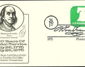 Inaugural Cancellation B. Free Franklin Post Office, Phila., PA 1975