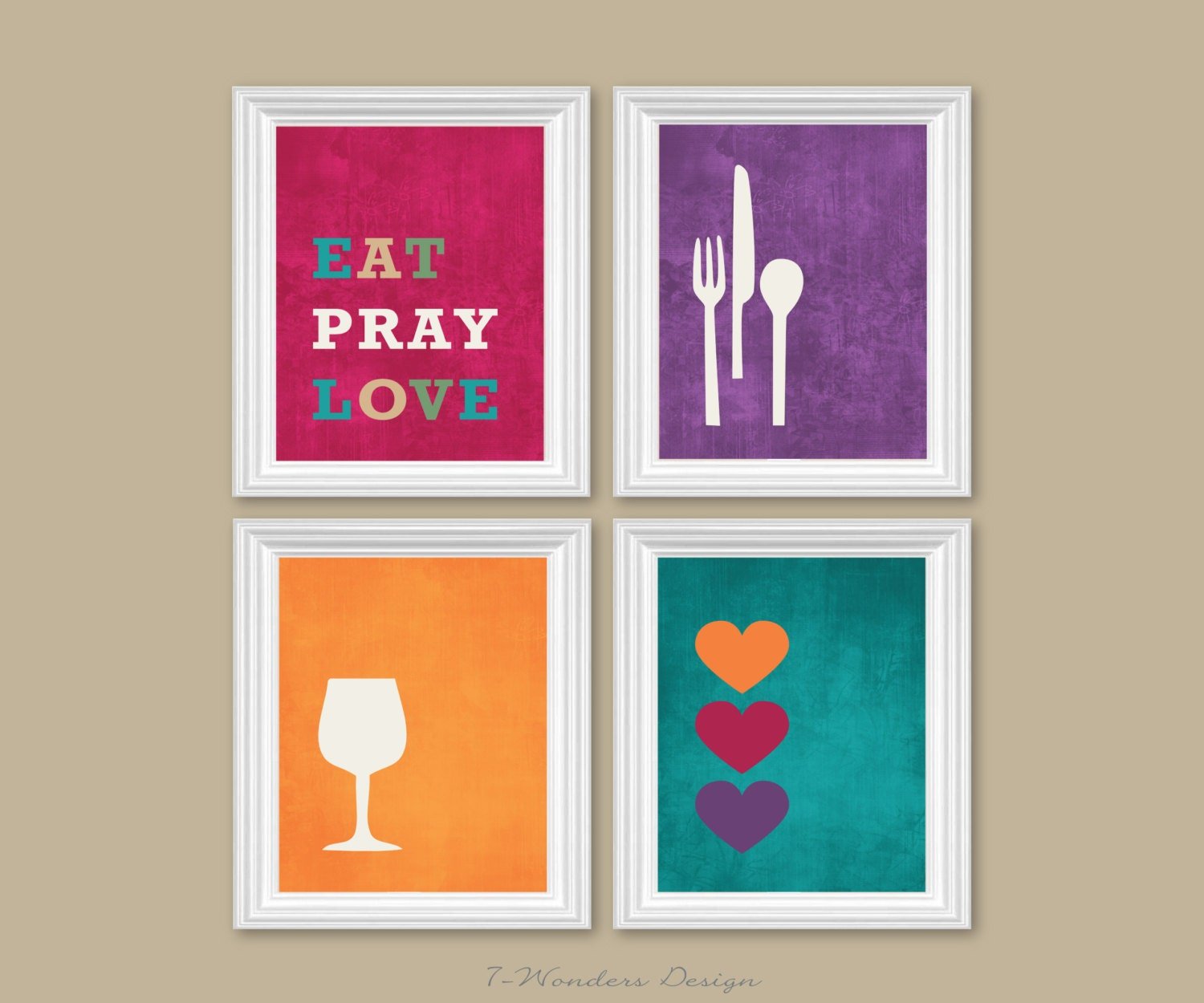 Modern Kitchen Wall Decor Eat Pray Love Trio By: Modern Kitchen Wall Art Print Set Inspirational Eat Pray Love