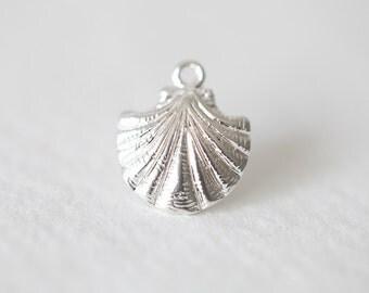 Sterling Silver Shell Charm 08 - sea life nautical beach charm, 925 silver pendant