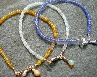 Stacking Bracelet,Layering Bracelet,Gemstone Stacking Bracelets,Delicate Bracelet,Single Strand Gemstone Bracelet, Stackable Opal Bracelet