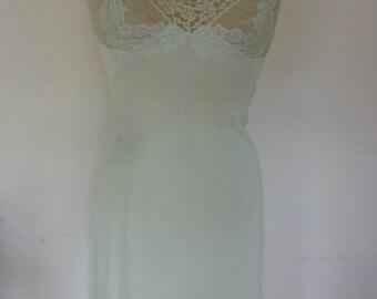 Full Slip Vintage Sheer Lace Mint Green Slip Dress Made by Vassarette Size 32 1960s