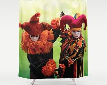 """Harlquin Shower Curtain Art Curtain Home Decor Bathroom 71x74"""" Bathroom Curtain Harlequin Carnival of Venice Decor Curtain 71x74 inch curta"""