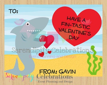 DIY Printable Favor Cards- Shark Valentines Day Tags -Holiday Cards -School Treats -Holiday -Hearts -Under the Sea