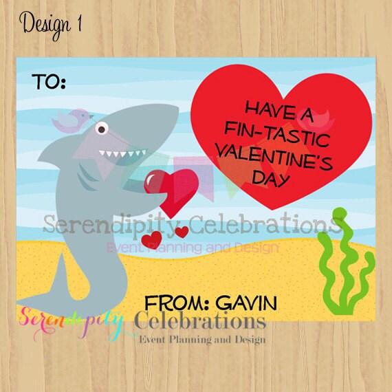 valentines day card shark - DIY Printable Favor Cards Shark Valentines Day Tags Holiday