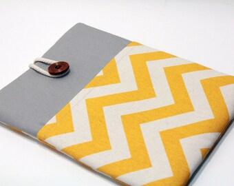 Ipad Air 2 Sleeve Chevron Ipad Air 2 Case foam Padded Handmade Ipad Air Cover with Pocket- Chevron Yellow