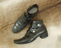Vintage Black Leather Buckle Ankle Boots Women