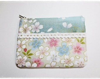 Small zip pouch purse cosmetic pouch makeup pouch travel organizer coin purse 2 zip pouch purse japanese blue sakura cherry blossom