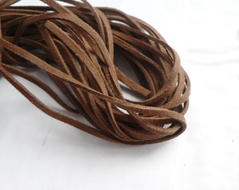 Brown Suede cord - high quality soft faux cord 2 m - 2,18  yards or 6,5 feet