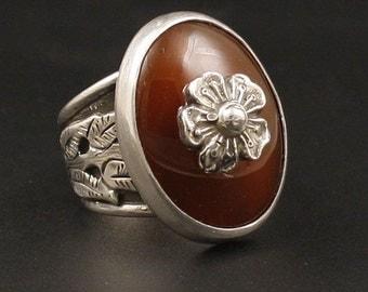 Carnelian Agate Artisan Sterling Silver   Jewelry Handmade  Metalwork Ring